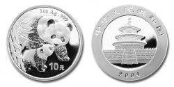 1749 # CHINA 10 Yuan  2004 1 oz PRATA Ø40 mm PROOF PANDA