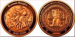 1995 ¤NOVIDADE¤ MEDALHA (GEOCOIN) dos Cavaleiros TEUTÔNICOS COBRE