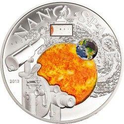 6201 ILHAS COOK 10 Dólares 2013 Prata Proof  Nano Tecnologia: sistemar solar e galaxia
