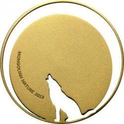 6162 Mongólia 500 Togrog 2013 Prata/Ouro - Lobo - Vazada a laser!