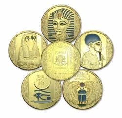 2665# Set 5 moedas SOMALIA 2008 OURO 39mm TUTANKAMON