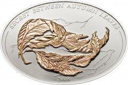 2977 ¤RARA¤ Palau $5 2008 Moeda com ilusão de optica: Folhas de outono PRATA PROOF Tiragem 2500 pçs.