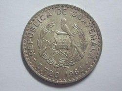 3154 # GUATEMALA 50 Centavos 1962 PRATA 31mm SOB/FC