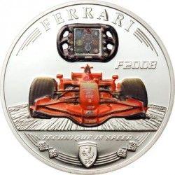 3207 *RARA* Cook Islands 5 Dollars 2009 PRATA/CARBONO PROOF Ø39mm Contendo fragmento de carbono de uma Ferrari F2008!!
