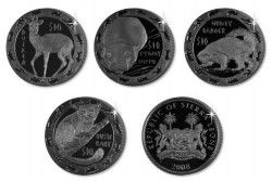 3395# SIERRA LEONE Set completo 4x $1 Ø39mm CuNi banhado a titânio: Animais noturnos