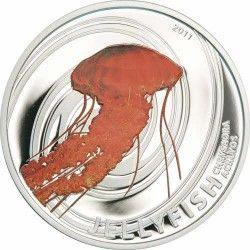 3678 # ILHAS PITCAIRN $2 2011 Prata Proof 3ª Moedas da Série Agua-viva: Tiragem: 1000 pçs!
