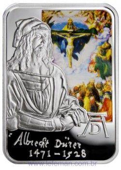 "3842# ANDORRA 10 D. 2010 PRATA PROOF COLORIZADA Série Pintores Universais: ""Albrecht Dürer"""