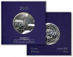 """3874 ::RARA::  FRANÇA 50 Euros 2010  PRATA Ø31mm Série """"La semeuse"""""""
