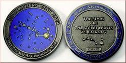3931 # MEDALHA (GEOCOIN) ASTRONOMIA 2009 Constelação Ursa maior com pedra zircônia! Niquel Ø39mm