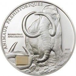 3950 ¤RARA¤ COSTA DO MARFIM  2010 1000 Fr. Prata Proof Ø39mm com fragmento fóssil de mamute!
