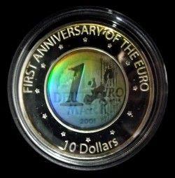 4091 ¤RARA¤ NAURU $10 2003 PRATA PROOF Ø39mm C/ HOLOGRAMA