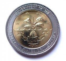 4124 ¤RARISSIMA¤ MICRONÉSIA 1 Dollar 2004 FC Bimetálica Comemorativa JOSEPH J. URUSEMAL