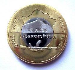 4129 # CABINDA 5 Reais 2010 Bimetalica  Comemorativa aos 35 Anos de Independência
