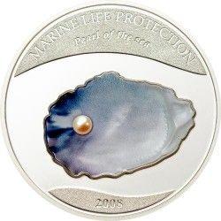 4136 ¤RARA¤ Palau  $5 2008 Com autêntica pérola PRATA PROOF Ø39mm Tiragem esgotada!