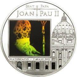 4166 ::RARA:: ANDORRA 5 DINER 2011 PRATA PROOF Ø39mm Beatificação do Papa João Paulo II C/ HOLOGRAMA
