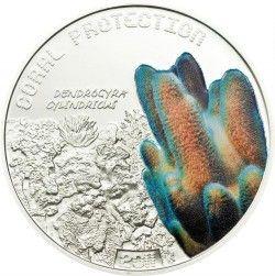 4184# TUVALU 1 Dollar 2011 PRATA PROOF Ø35mm Proteção de Corais I