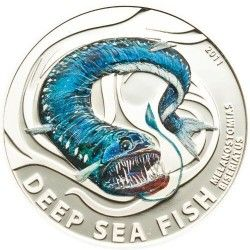 4198 # ILHAS PITCAIRN 2 Dollars 2010 PRATA PROOF Série Criaturas abissais: Peixe Melanostomias Tiragem: Apenas 1000 pçs!