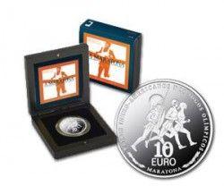 5385 # PORTUGAL 10 Euros 2007 PRATA PROOF  Ø40mm A Maratona  C/ Estojo e Certificado!