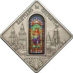 5489 *RARISSIMA* PALAU $10 2011 Prata 42x42mm Série vitral I: Santiago de Compostela Apenas 999 exemplares!