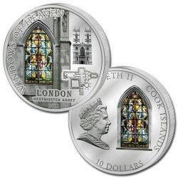 5555 # ILHAS COOK $10 2011 PRATA Ø55mm Série VITRAL II: Abadia de WESTMINSTER Tiragem: 2000 pçs!!
