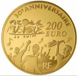 5558 # FRANÇA 200 Euros 2011 OURO PROOF Ø37mm 30  Anos de Festa da Música