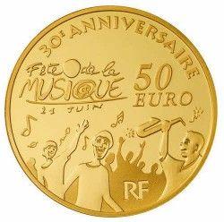 5559 # FRANÇA 50 Euros 2011 OURO PROOF Ø22mm 30  Anos de Festa da Música