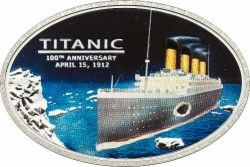 5660# ILHAS COOK $5 2012 Prata Proof Ø30x45mm 100º Aniversário TITANIC c/ carvão original do navio!
