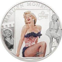 5669 # ILHAS COOK 5 Dollars 2011 PRATA PROOF Ø39mm Marilyn Monroe com DIAMANTE!