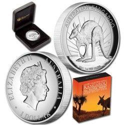 5767 # AUSTRALIA 1 Dollar 2011 Prata Proof Ø32mm moeda com canguru em alto relevo.