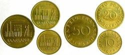 5786 # Série completa SAARLAND 10, 20, 50 e 100 Franken 1954