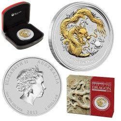 5826 # AUSTRALIA 1 Dollar 2012 Prata 1Oz Proof Ano do dragão com aplique em ouro
