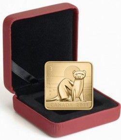 5889 # CANADA $3 2010 Prata/Ouro FC Ø27mm Série Vida Selvagem: Furão