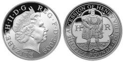 5941 # INGLATERRA 5 Pounds 2009 Prata Proof Ø39mm 500º Aniversário de Rei Henry VIII PIEDFORT