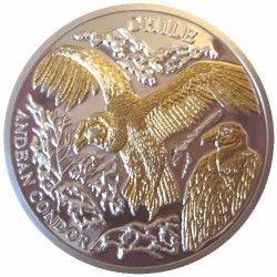 5996 # LIBERIA $10 2004 Prata Proof Ø38mm c/ Ouro e olhos de diamante Fauna do Chile