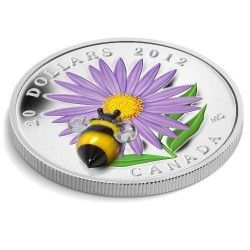 6004 # CANADA $20 2012 Prata Proof Ø38mm Flor com Abelha de vidro veneziano!