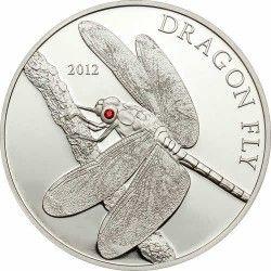 6005 # TOKELAU $5 2012 Prata Proof Ø39mm Libélula com olho de cristal Swarovski