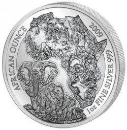 6025 ¤RARA¤ RWANDA 50 Francos 2009 Prata Proof Ø40mm. ELEFANTE Tiragem: 1000 pçs
