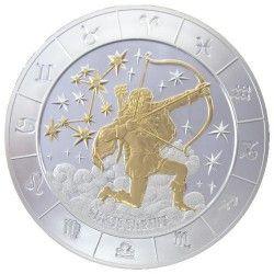 6027 # RWANDA 1000 Francos 2009 Prata Proof OURO Ø65mm. Zodiaco: Sagitario com 4 Diamantes Tiragem: 500 pçs