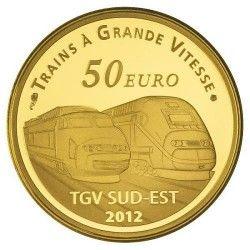 6058 # França 50 Euros 2012 Ouro Proof Ø22mm Série Trens: Estação  Lyon Saint Exupéry
