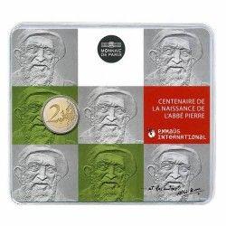 6072 # França 2 Euros 2012 Cupro-Niquel Proof Ø26mm Edição na Cartela - Centenário de Abbé Pierre