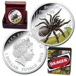 6080 # Tuvalu $1 2012 Prata Proof Ø41mm Aranha Teia web Mortal e Perigosa