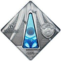 6107 # PALAU $10 2012 PRATA PROOF 42x42mm Série vitral IV: Catedral de Brasilia Apenas 999 exemplares!