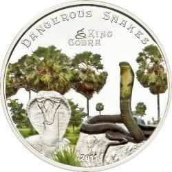 6157 Ilhas Cook  $5 2012 Prata Proof  Ø39mm COLORIDA  - Série Serpentes venenosas: Cobra Rei