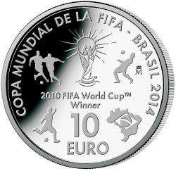 6168 Espanha 10 Euros 2013 Prata Proof  Comemorativa Copa 2014