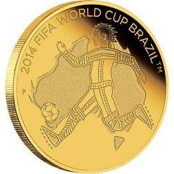 6170 Austrália 2 Dollars 2012 Ouro Proof  Comemorativa Copa de 2014 no Brasil!