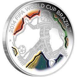 6171 Australia 50 Cents 2012 Prata Proof Comemorativa Copa de 2014 no Brasil!