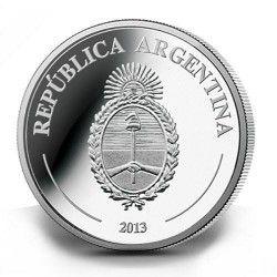 6235 Argentina 5 Pesos 2013 Prata Proof  Copa do Mundo 2014 Brasil