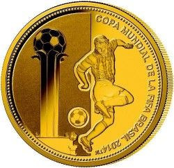 6237 Paraguai 1.500 Guaranis 2013 Ouro Proof  Copa do Mundo 2014 Brasil