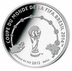 6241 Costa do Marfim 1000 Francos 2012 Prata Proof  Copa do Mundo 2014 Brasil