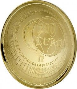 6244 França 200 Euros 2014 Ouro Proof  Copa do Mundo 2014 Brasil Apenas 500 no Mundo!!